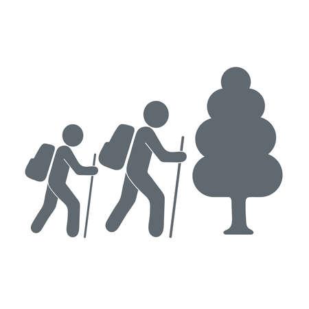 merit: Forest tourists icon. illustration