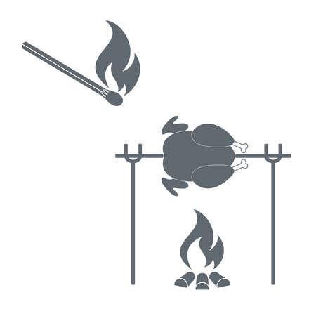 grilled chicken: Grilled chicken and match  icon. illustration Illustration