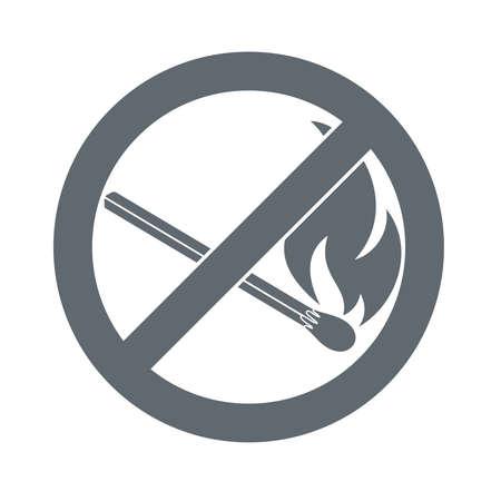 prohibition: Aucun signe d'incendie. Interdiction symbole de la flamme ouverte. illustration Illustration
