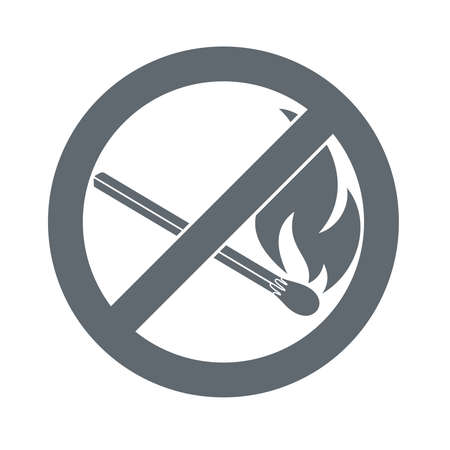 open flame: No Fire sign. Prohibition open flame symbol. illustration