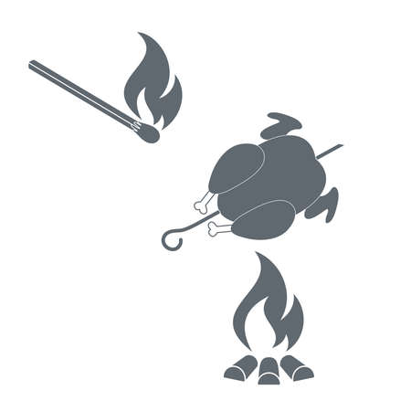 match: Grilled chicken and match  icon. illustration Illustration
