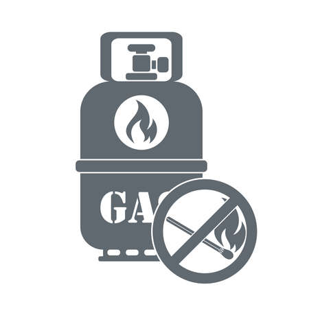 lpg: Camping gas container with prohibition sign  icon on white background . Vector illustration