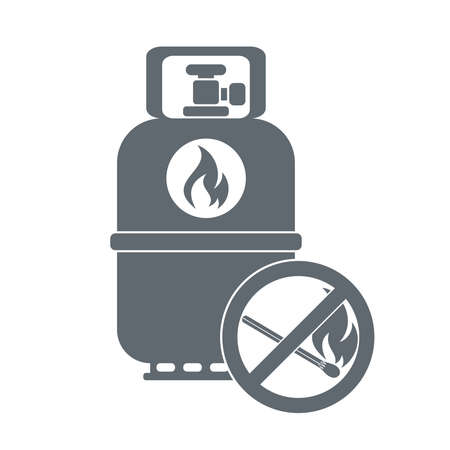 fillup: Camping gas container with prohibition sign  icon on white background . Vector illustration