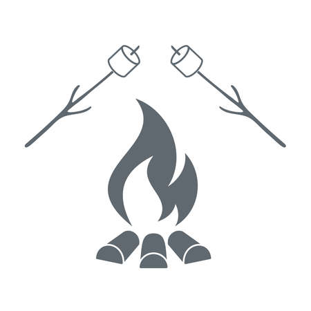 marshmellow: Fire and marshmellow icon on white background. Vector illustration. Illustration