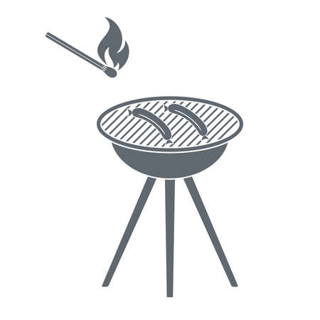 matches: Barbecue  sausage and matches  icon on white background. Vector illustration.