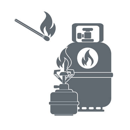 liquefied: Camping gas container and matches icon on white background . Vector illustration