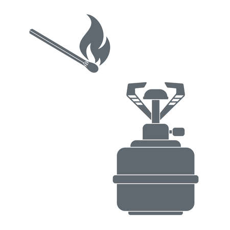 travel burner: Camping burner and matches  icon vector. Flat icon isolated on the white background. Vector illustration. Illustration