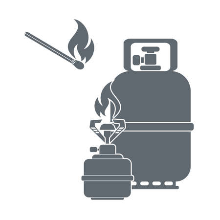 fillup: Camping gas container and matches icon on white background . Vector illustration