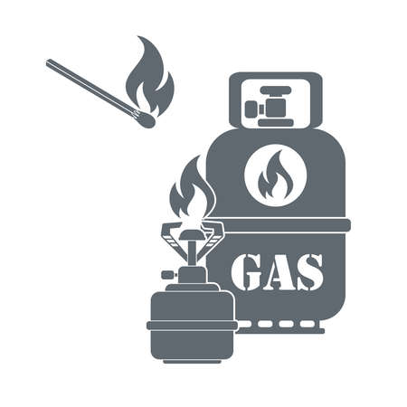 gas cylinder: Camping gas container and matches icon on white background . Vector illustration