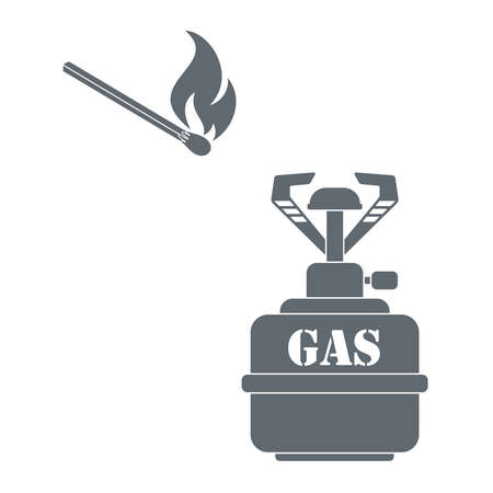 propane: Camping burner and matches  icon vector. Flat icon isolated on the white background. Vector illustration. Illustration