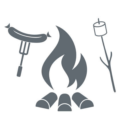 marshmellow: Fire, marshmellow and sausage icon on white background. Vector illustration.