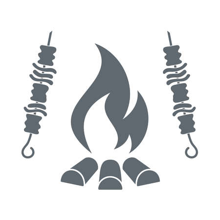 roaster: Fire and kebab icon on white background. Vector illustration.