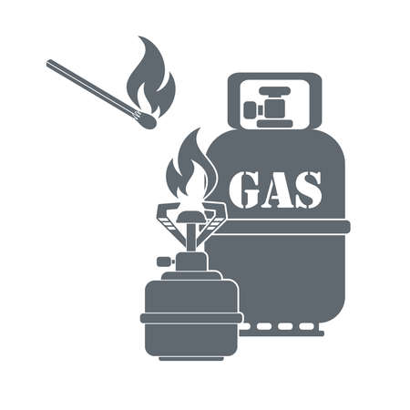 lpg: Camping gas container and matches icon on white background . Vector illustration