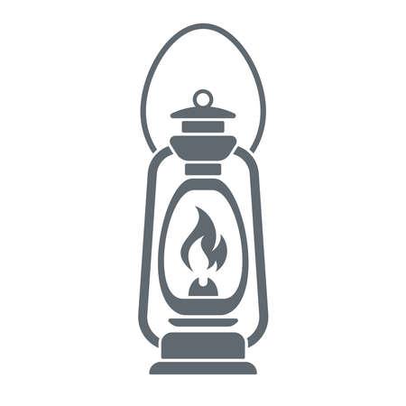 monochromatic: Antique Old Kerosene Lamp isolated on a white background. Monochromatic line art. Retro design. Vector illustration. Illustration