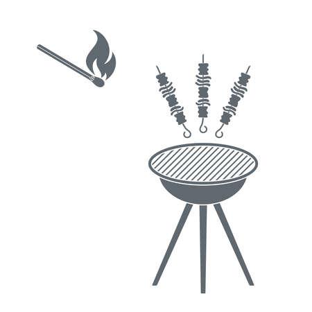 shish kebab: Grilled shish kebab and match icon. Vector illustration