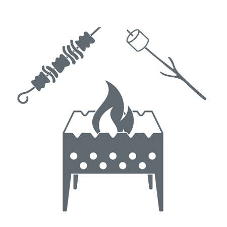 marshmellow: Brazier, marshmellow and kebab  icon on a white background. Vector illustration