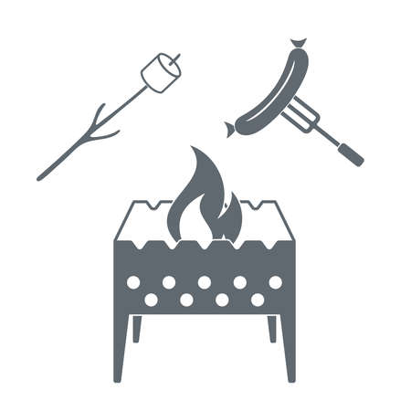 marshmellow: Brazier, marshmellow and sausage  icon on a white background. Vector illustration Illustration