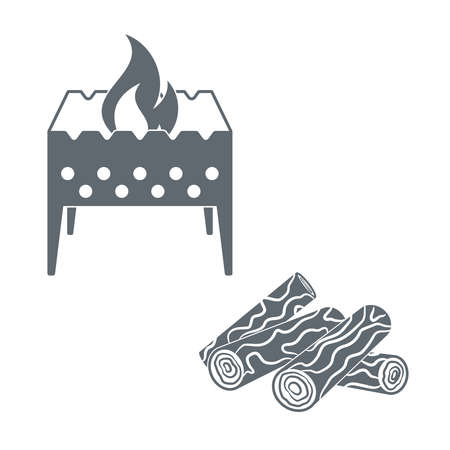 firewood: Brazier and firewood  icon on a white background. Vector illustration