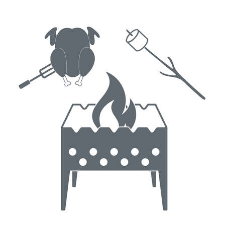 marshmellow: Brazier, marshmellow and chicken  icon on a white background. Vector illustration