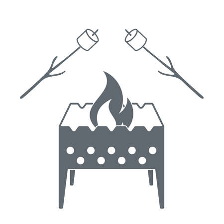 roaster: Brazier and marshmellow  icon on a white background. Vector illustration