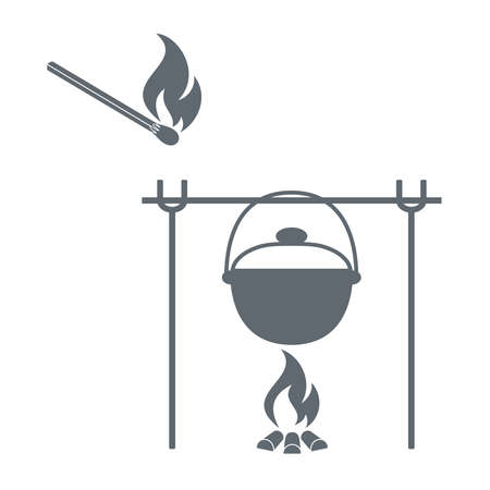 Fire, pot and matches icon on white background. Vector illustration.