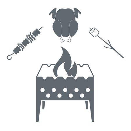 Brazier zéphyr, poulet et kebab icône sur fond blanc. Vector illustration