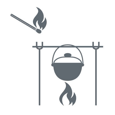 matches: Fire, pot and matches icon on white background. Vector illustration.