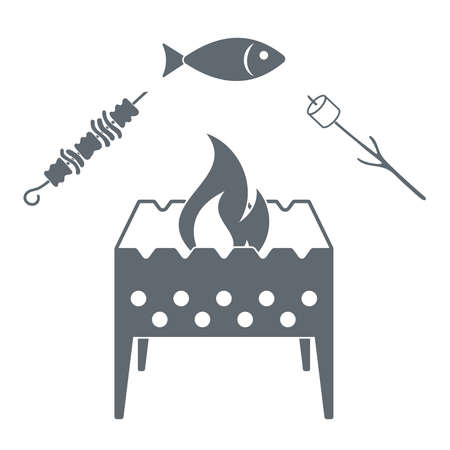 coal fish: Brazier zephyr, kebab and fish icon on white background. Vector illustration Illustration