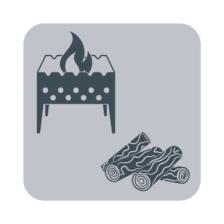 Brazier and firewood icon on gray background. Vector illustration Illustration