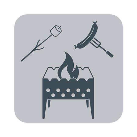 Brazier, icône zéphyr et des saucisses sur fond gris. Vecteur