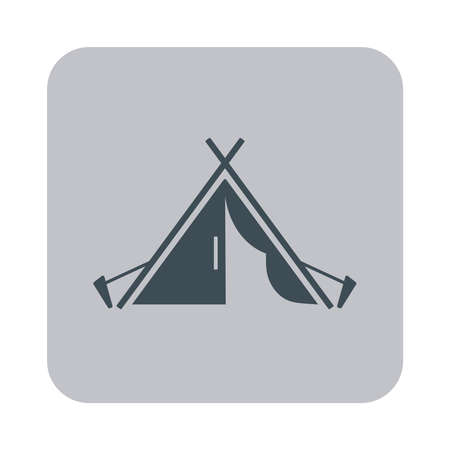 pegs: Stylized icon of tourist tent black on a gray background Illustration