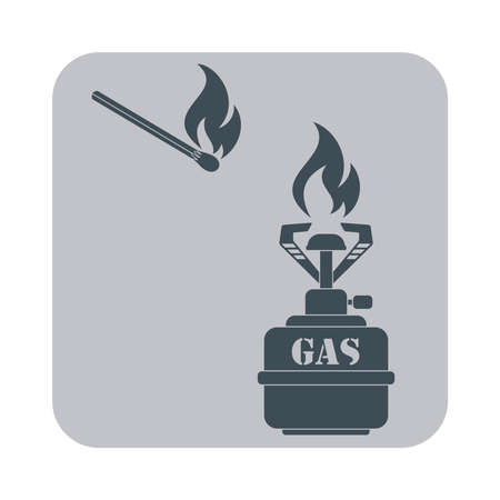 travel burner: Camping stove icon vector. Flat icon isolated on the gray background. Vector illustration. Illustration