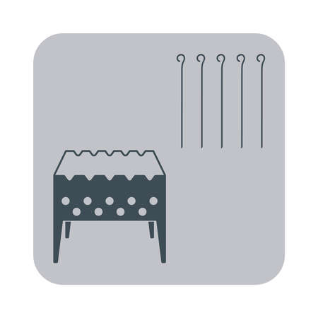 chafing dish: Brazier grill with skewers icon on gray background. Vector illustration