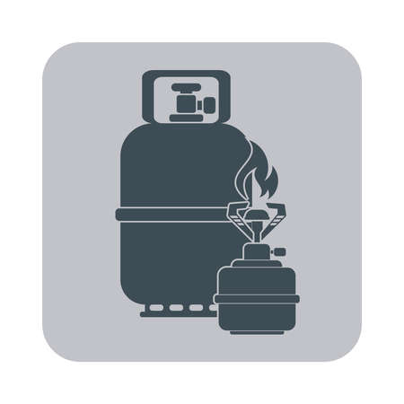 travel burner: Camping stove with gas bottle icon vector. Flat icon isolated on the gray background. Vector illustration.