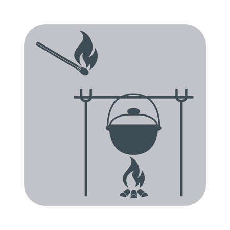 matches: Fire, pot and matches icon. Vector illustration.