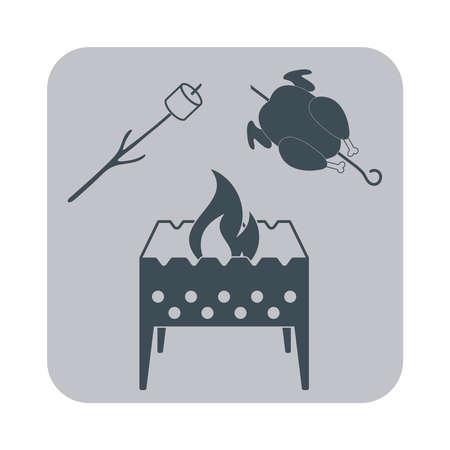 brazier: Brazier, zephyr and chicken icon on gray background. Vector illustration Illustration