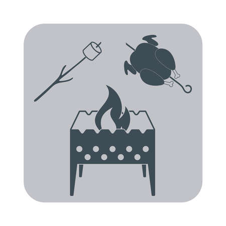 Brazier, zephyr and chicken icon on gray background. Vector illustration Illustration