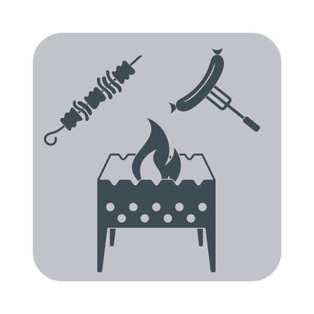 Brazier, kebab et saucisses icône sur fond gris. Vector illustration