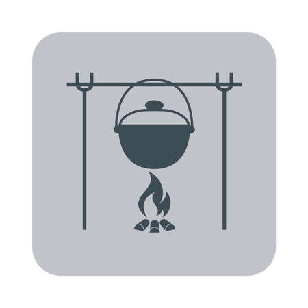 roaster: Fire and pot icon. Vector illustration.