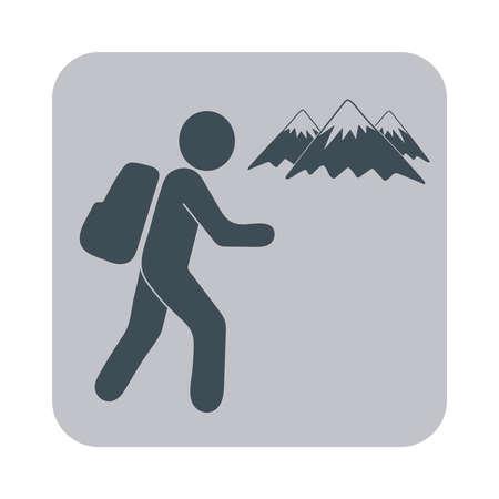 tourists: Hiking tourists icon. Vector illustration
