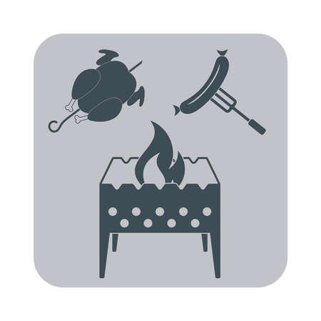 brazier: Brazier, chicken and sausage icon. Vector illustration