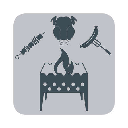 outing: Brazier, zephyr, kebab and sausage icon. Vector illustration