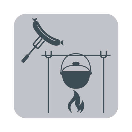 sausage pot: Fire, sausage and pot icon. Vector illustration.