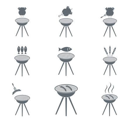 Set d'icônes barbecue. Vector illustration