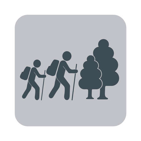 hiking: Hiking tourist icon. Vector illustration