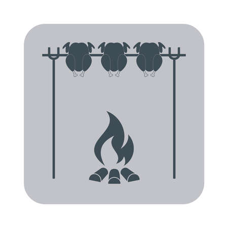 grilled: Grilled chicken icon. Vector illustration