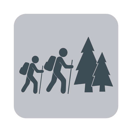 hiking: Hiking tourists icon. Vector illustration