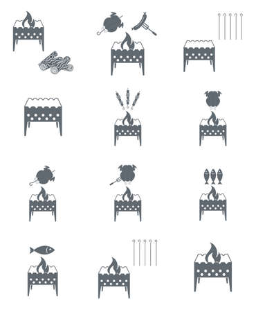 Brazier cooking icons set. Vector illustration Illustration