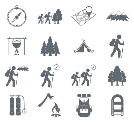 Set of hiking icons illustration isolated vector sign symbol