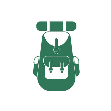 student travel: Backpack icon illustration isolated vector sign symbol